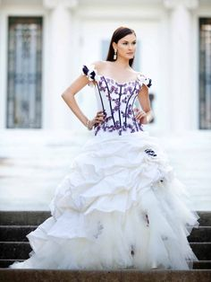 Ball gown floor-length taffeta bridal gown with ruffle embellishment