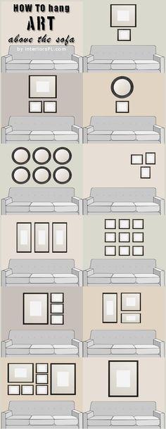 Frames distribution. Decor ideas for wall.