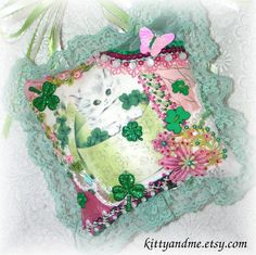 St Patricks Day Hanging Pillow Crazy Quilt White Cat by Kittyandme, $28.00