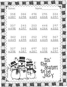 Christmas Themed Addition with Regrouping by Copper Classroom Math Worksheets, Math Activities, Teaching Resources, Christmas Math, Christmas Themes, Third Grade, Fourth Grade, Elementary Math, Math Centers