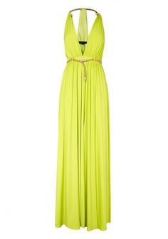 Forever Unique | 'Destiny' Maxi Dress Lime | This Lime maxi dress has a metal snake trim at the neck, metal snake belt and front split detail. The dress is fully lined, has bust cups and a zip fastening. Each garment is lovingly made and hand finished