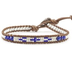 Lapis Mix Beaded Single Wrap Bracelet on Natural Brown Leather - Chan Luu