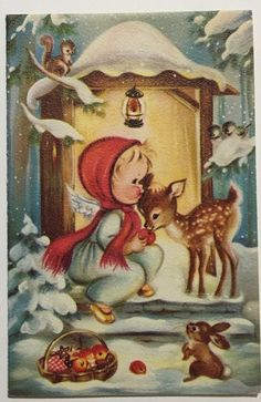 VTG Christmas Greeting Card Angel Girl Deer Fawn Squirrel Bunny Norcross Unused