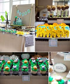 "Safari ""Wild One"" first birthday party...love the simple linen + bamboo stick backdrop and dark bamboo table runner, which let the colorful food take center stage."
