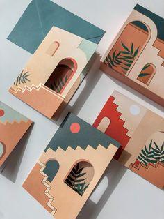Staircases & Archways- Pop-Up Boxed Notes on Behance Arte Elemental, Illustration Art, Illustrations, Graphic Design Illustration, Postcard Design, Postcard Art, Grafik Design, Graphic Design Inspiration, Art Inspo