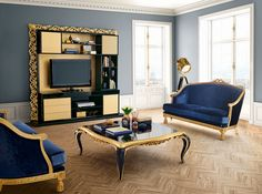 Capri gold and dark blue living room  Jetclass | Real Furniture luxury furniture and Interior Design