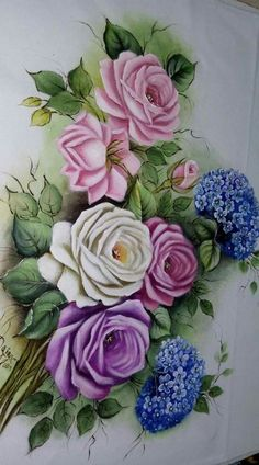 flower fabric painting – Aida Luz Perez Carrion – Join in the world of pin One Stroke Painting, Tole Painting, Fabric Painting, Painting On Wood, Painting & Drawing, Decoupage Vintage, Decoupage Paper, Art Floral, Fabric Paint Designs