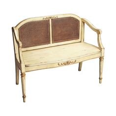 Don't let your bench take a backseat to the rest of your interior. This gorgeous design makes a statement all its own with cane back weaving and sturdy wooden construction. Simple metallic accents give...  Find the Bettina Bench, as seen in the Vintage Farmhouse Charm in Florence Collection at http://dotandbo.com/collections/vintage-farmhouse-charm-in-florence?utm_source=pinterest