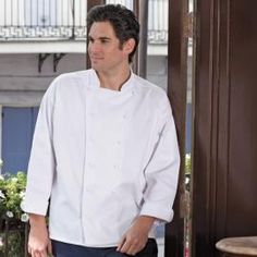 Mirage Executive Chef Coat by Uncommon Threads - Smooth front with no breast pocket, 12 inset cloth knot buttons, reinforced construction and finished cuffs/collar. Available in white in a full size selection, XS-6XL. http://www.chefscloset.com/catalog/mirage-executive-chef-coat-p-250.html