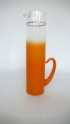 etsy find // vintage: tangerine blendo pitcher from HausProud - makes me think of the parker, palm springs and mimosas, which obviously means i love it. Orange Color, Colour, Orange You Glad, Teal, Turquoise, Vintage Bar, Mimosas, Bar Accessories, Frosted Glass