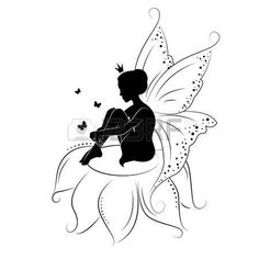 Illustration of Silhouette of beautiful fairy. Hand drawn, isolated on white background. vector art, clipart and stock vectors. Fairy Silhouette, Belle Silhouette, Silhouette Painting, Silhouette Drawings, Fairy Tattoo Designs, Music Tattoo Designs, Tattoo Music, Alternative Disney Princesses, Fairy Drawings