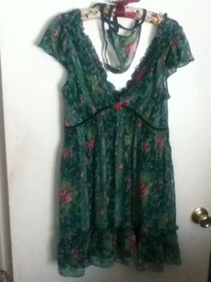 M-L Betsey Johnson Green Floral Rose Ruffle Chemise Teddy Doll Gown Dress Panty #BetseyJohnson