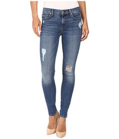 7 FOR ALL MANKIND The Skinny W/ Contrast Squiggle & Destroy In Hyde Park. #7forallmankind #cloth #jeans