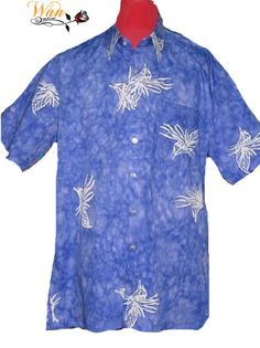 Batik shirt short sleeve hand painted in cotton comb 100%. For casual wear, day or evening. Gift wrap and ship to anywhere you wish to send to! Size: S/M/L/XL/XXL Code: BSSS-717 Available from: www.wanrosnah.com