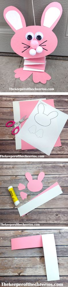 Bouncing Paper Easter Bunny Craft, preschool craft, preschool Easter craft, kids Easter craft