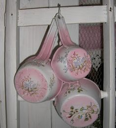 I could do this. Spray paint them white, then a few licks with pink, then decopauge the flowers on.