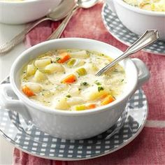 51 Cozy Slow Cooker Soups - Turn to your slow cooker for cheesy potato-bacon chowder, hearty minestrone, classic chicken noodle and more—these comforting soups, stews, chilis and chowders are ready to greet you as soon as you step in from the chill.