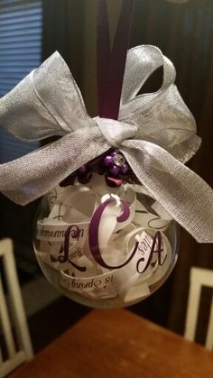 Wedding invitaion ornament I made as a gift for the bride and groom.  I cut up their invitation and put it inside a glass ornament from Michaels. I then put a monogram decal on it.  Looking forward to giving this to the special couple this weekend!