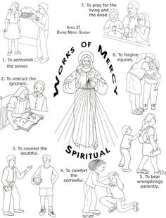Corporal Works of Mercy Coloring | Friends of Jesus & Mary / 18 - Works of Mercy