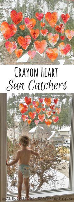 Crayon Heart Sun Catchers #kidscraft #crayons #valentinesdaycraft