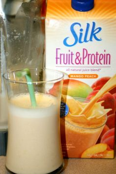 Add vanilla yogurt, frozen peaches, and banana for a high protein smoothie