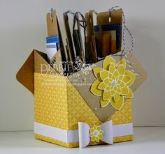 Stampin' Up! Paper Pumpkin for April 2015. I used two of the pockets to make a box that coordinates with one of the cards. The box can be used as a treat holder. I also flipped the bow pieces over to create a white bow. Debbie Henderson, Debbie's Designs.