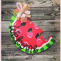 Watermelon Door Hanger Summer Door Hanger by jgcreationsbyjg Wooden Door Hangers, Wooden Doors, Cross Door Hangers, Horseshoe Wreath, Front Door Decor, Front Porch, Painted Doors, Watermelon Wedding, Watermelon Cake