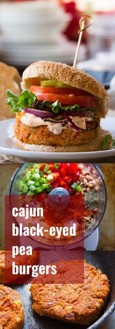 These vegan black-eyed pea burgers are made with veggies, cornmeal, and seasoned up with zesty Cajun spices!