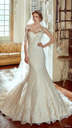 nicole spose bridal 2017 3 illusion cap sleeves sweetheart lace trumpet wedding dress (niab17077) mv