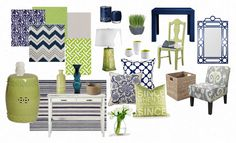 navy and light green with hints of grey