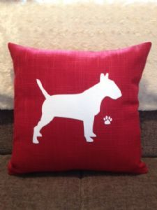 English Bull Terrier cushion. Personalisation an option.