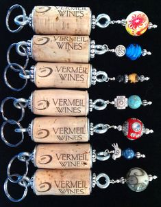 Custom wine cork key chains available in the Vermeil Winery Tasting Room, Calistoga, CA