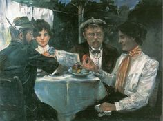 In Max Halbe's Garden (1899). Lovis Corinth (German, 1858-1925). Oil on canvas. Städtische Galerie im Lenbachhaus, Munich. Max Halbe (German, 1865-1944) was a dramatist and main exponent of Naturalism. He published Eisgang in 1892, and then his primary work, Jugend (Youth), in 1893, which was one of the most successful contemporary stage plays in Germany. He maintained close contact with Corinth who made several pictures of Halbe and his wife Luise.