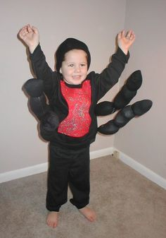 homemade costume idea spider make the spiders legs with by cutting off the legs of an old pair of black tights fill with fiberfill or newspaper and