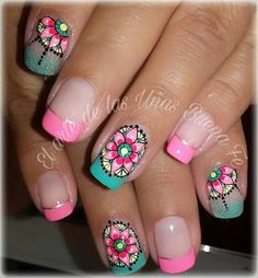 Ideas For Nails Design Frances Color Combos Love Nails, Fun Nails, Pretty Nails, Mandala Nails, Plaid Nails, Magic Nails, Vacation Nails, Nail Polish Art, Manicure E Pedicure