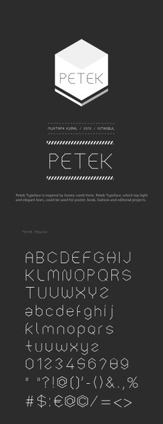 PETEK Typeface by mustafa kural, via Behance