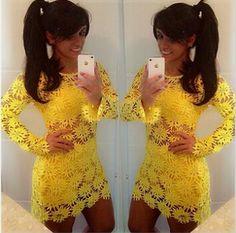 2014 New women dress flor amarela mini vestido de renda mulheres bonitas rendas flor vestidos D08