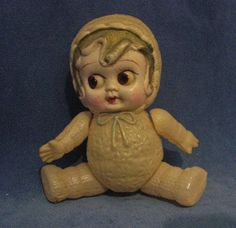 Vintage 1920s Celluloid Flapper Baby in Snowsuit