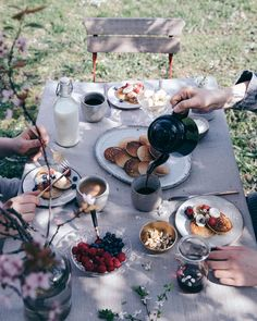 Another shot from yesterday's lovely spring breakfast in the garden We had gluten free pancakes topped with berries almonds and maple syrup of course  Happy Monday guys! #ourfoodstories_countryside