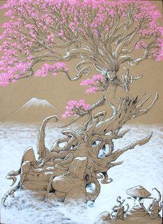 Illustration femme arbre cerisier japonais exposé à la #japanexpo