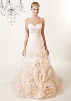 8392-Rianne- Organza dropped waist gown with ruched bodice and swirled organza…