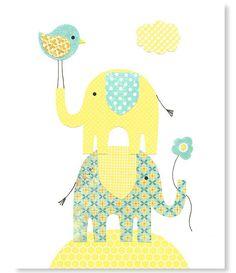 Elephant Nursery Art Print Bird Yellow and Aqua Decor Gender Neutral Nursery Art Jungle Safari Baby Shower Gift 8 x 10 or 11 x 14 Print by SweetPeaNurseryArt on Etsy https://www.etsy.com/listing/176896463/elephant-nursery-art-print-bird-yellow