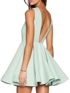 Green V Back Sleeveless Skater Dress | Choies
