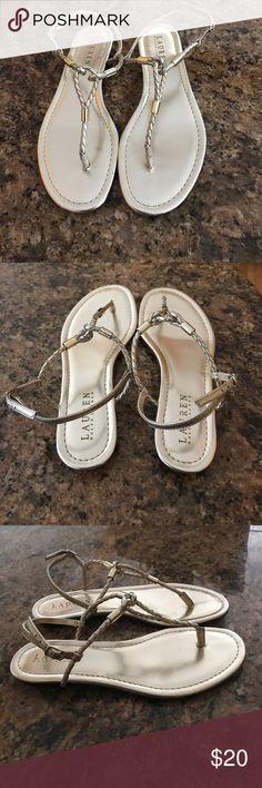 Lauren Gold Tone Sandals New, never worn gold tone Sandals, size 7M. Ralph Lauren Shoes Sandals