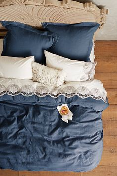 Soft-Washed Linen Duvet  #anthropologie $288 (Size: Full)  Sheets shown: Eyelet Embroidered Sheet Set $218 (Size: Full)