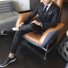 Black suit with printed shirt and #sneakers by @aleksmusika [ http://ift.tt/1f8LY65 ] #royalfashionist