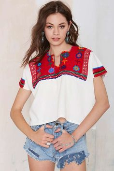 Vintage Angelica Embroidered Top - Tops