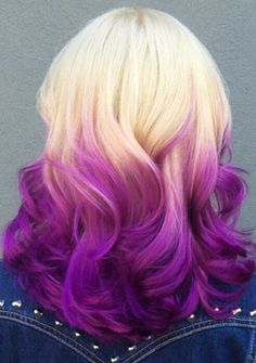 blonde purple ombre dyed hair @missameliahart