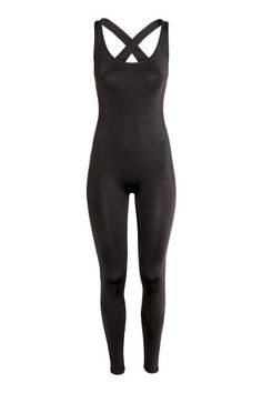 Fitted catsuit in glossy jersey with a low neckline at the back, narrow shoulder straps that cross at the back and long, slim legs.