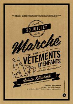 Affiche Kraft Marché aux vêtements - Le Moulin à Puces Web Design, Graphic Design, Le Moulin, Vintage Designs, Vintage Photos, Logos, Poster, Fashion Designers, Type